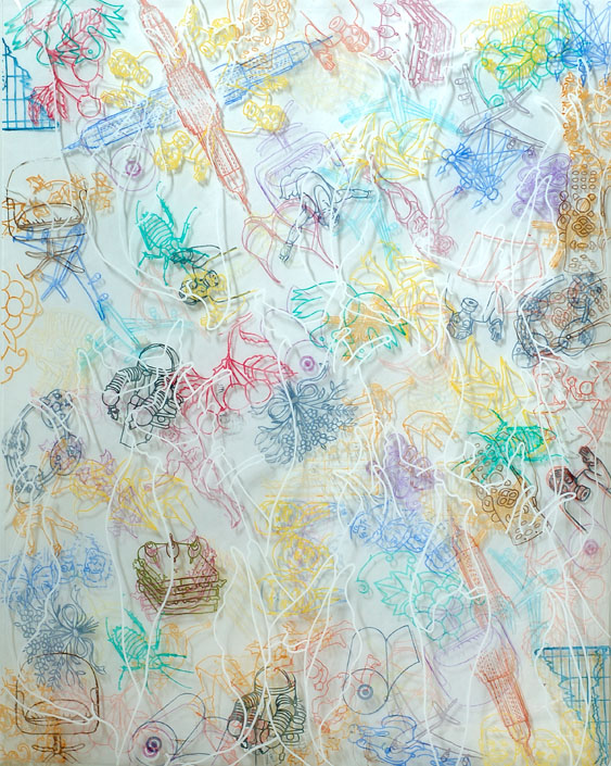 Barbara Strasen, Misc, acrylic on Mylar, 39 x 30.5- framed, 2010